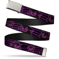 Blank Chrome  Buckle Electric Gengar Poses Stripe Black Purple Webbing Web Belt - S