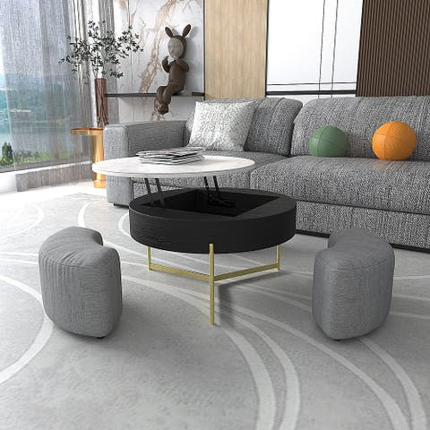 Lifting-top Storage Table With Ottomans