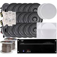"8-room In-Ceiling 6.5"" Speaker System, 8-Channel Amplifier, (16) 6.5"" Speakers, 8 Volume Controls, 1000 FT Wire"