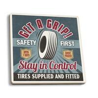 Retro Tire Ad - Vintage Sign - LP Artwork (Set of 4 Ceramic Coasters)