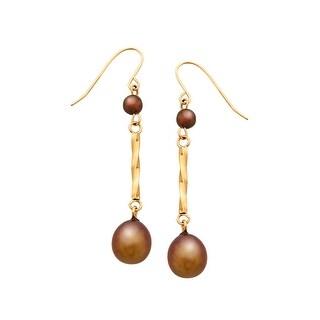 7 mm Brown Freshwater Pearl Drop Earrings in 14K Gold