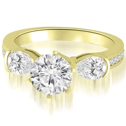2.00 cttw. 14K Yellow Gold Three-Stone Round And Pear Diamond Engagement Ring