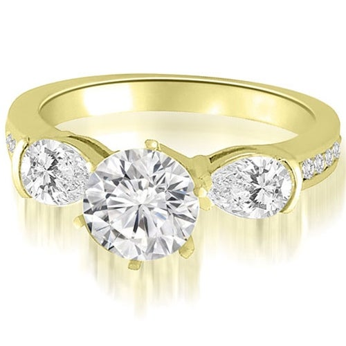 2.25 cttw. 14K Yellow Gold Three-Stone Round And Pear Diamond Engagement Ring