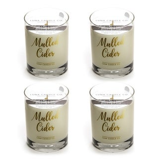 Mulled Apple Cider Premium Candle, Natural Soy Wax Long Burn (4 Pack)