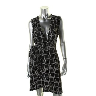 Vince Camuto Womens Wrap Dress Printed Sleeveless - l