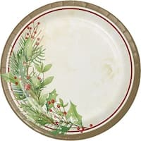 "Club Pack of 96 White, Green and Brown Christmas Wreath Printed Luncheon Plates 6.87"" - White"