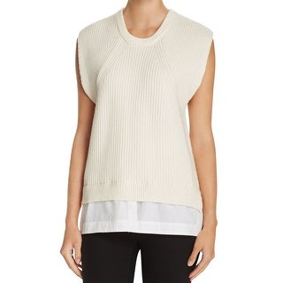 DKNY NEW White Ivory Womens Large L Knitted Hi-Lo Crew Neck Sweater