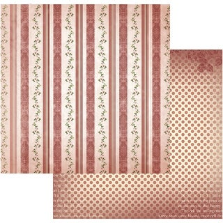 "Vintage Rose Garden Double-Sided Paper 12""X12""-Heavy Stripes"