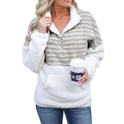 Women's Cozy Oversize Fluffy Fleece Sweatshirt Pullover Outwear