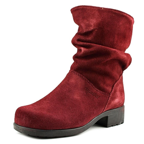 Martino Chantelle Women Round Toe Suede Burgundy Mid Calf Boot