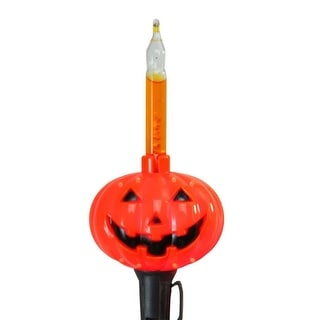Set of 10 Orange Pumpkin Halloween Bubble Light Set - Black Wire