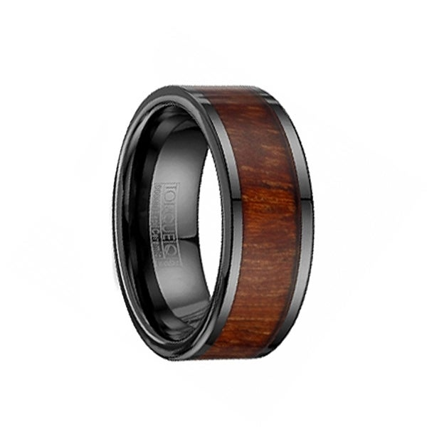 Black Ceramic Flat Wedding Ring with Wood Inlay by Crown Ring - 9mm