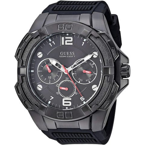 Guess Men's W1254G2 Genesis Black Watch With Silicone Strap - 1 Size