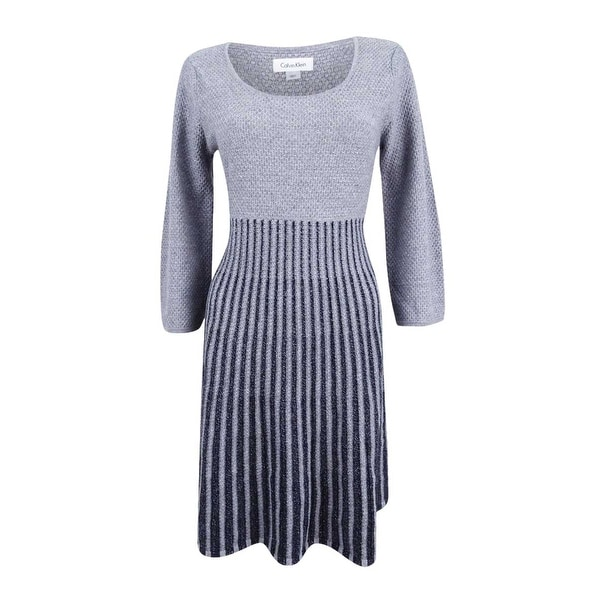 e1387aece92 Shop Calvin Klein Women s Plus Size Scoop Neck Fit   Flare Sweater Dress -  tin silver - Free Shipping Today - Overstock - 21586993