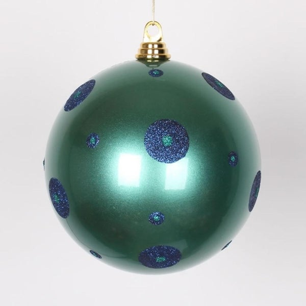 "Candy Teal Green with Sea Blue Glitter Polka Dots Christmas Ball Ornament 8"" (200mm)"