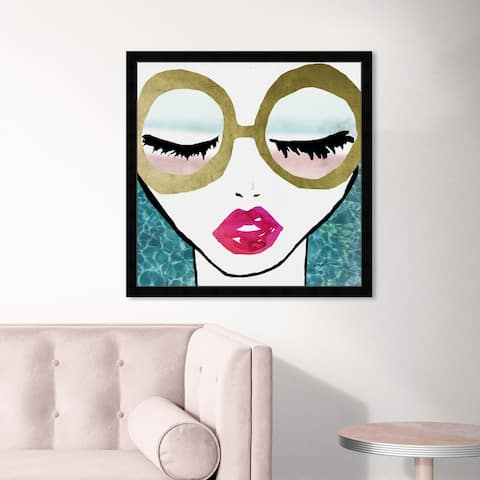 Oliver Gal 'Ready for The Water Golden' Fashion and Glam Wall Art Framed Print Portraits - Blue, Pink