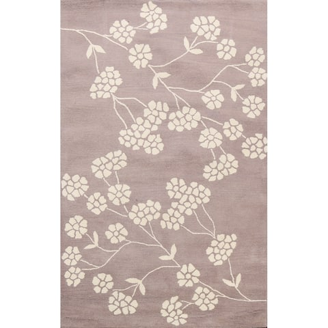 """Floral Contemporary Oriental Wool Area Rug Hand-tufted Foyer Carpet - 5'0"""" x 8'0"""""""