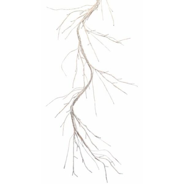 Pre-Lit Elegant White Birch Twig Garland 50 Pure White LED Lights 5'L