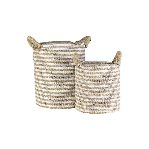 """East at Main Kai Woven Stripes Basket, Set of 2, White and Brown - 12"""" W x 12"""" D x 16"""" H"""