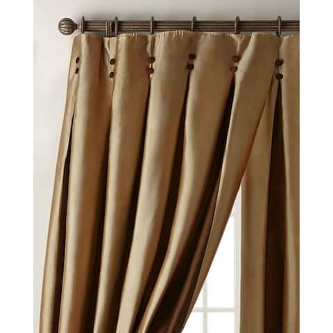 Bernice Chocolate Gold/Ivory Silk Inverted Pleat 108 Inch Curtain Drapery Panel