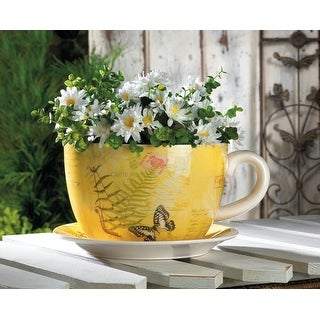 Large Garden Butterfly Teacup Planter