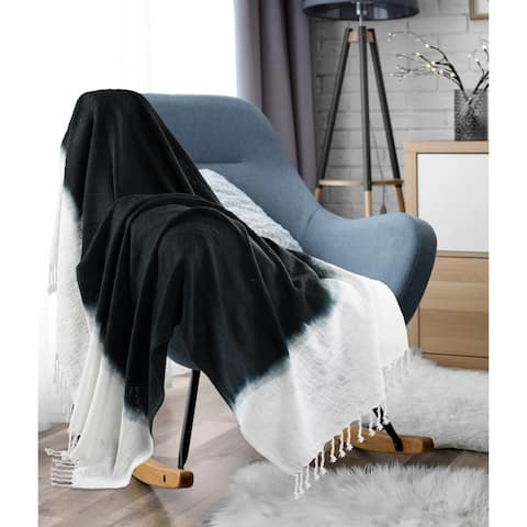 Jute Black Shibori Slab Throw Blanket with Fringe