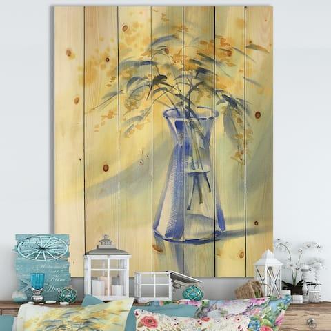 Designart 'Summer Flowers In Blue Glass Bottle' Farmhouse Print on Natural Pine Wood