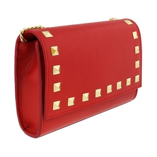 Scheilan Coral Red Leather Studded Flap  Shoulder Bag - Coral Red