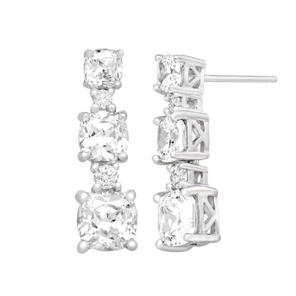 Drop Earrings with Swarovski Elements Zirconia in Sterling Silver - White