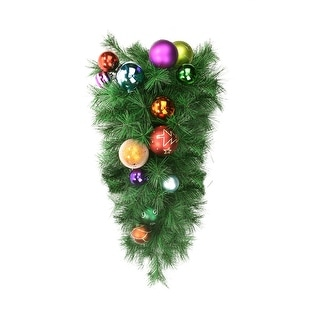 """24"""" Pre-Decorated Multi-Color Ball Ornament Long Needle Pine Artificial Christmas Teardrop Swag - Unlit"""