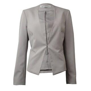 Tahari Women's Solid Collarless Faux Pocket Blazer