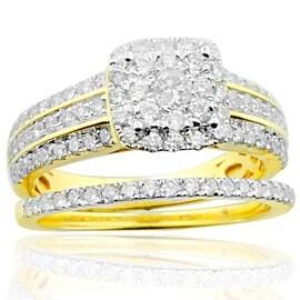14K Gold Wedding Rings Set 1.00ctw Diamonds Engagement Ring and Matching Band Set(i2/i3, i/j)