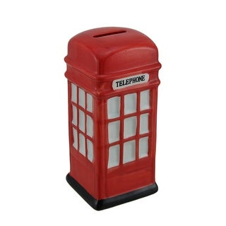 Retro Red Ceramic British Phone Booth Coin Bank - 6.5 X 2.75 X 2.75 inches