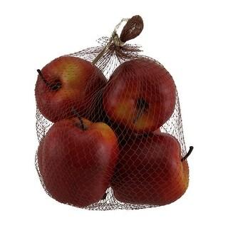 6 Piece Artificial Red Apples Decorative Faux Fruit Set