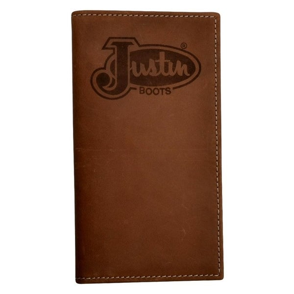 Justin Western Wallet Mens Rodeo Logo Emblem Leather Tan - One size