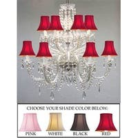 Venetian Style All Crystal Chandelier Lighting With Black Shades
