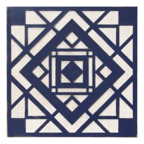 Stratton Home Decor Blue Aztec Metal And Wood Tile Wall Décor