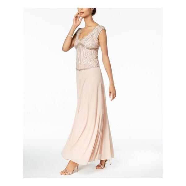 JKARA Womens Pink Embellished Cap Sleeve Full Length Formal Dress Size: 16