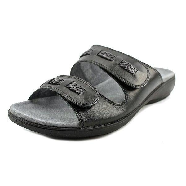 Trotters Kap Women  Open Toe Leather Black Slides Sandal