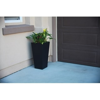 Kante Black Lightweight Concrete Tapered 28-inch Outdoor Planter
