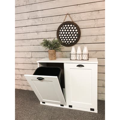 White Double Tilt-out Trash Cabinet - 35.25 in. long x 28.5 in. tall