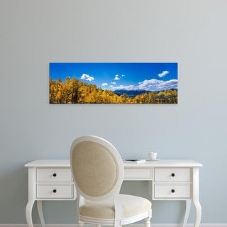 Easy Art Prints Panoramic Images's 'Trees with mountain range in the background, Colorado, USA' Premium Canvas Art