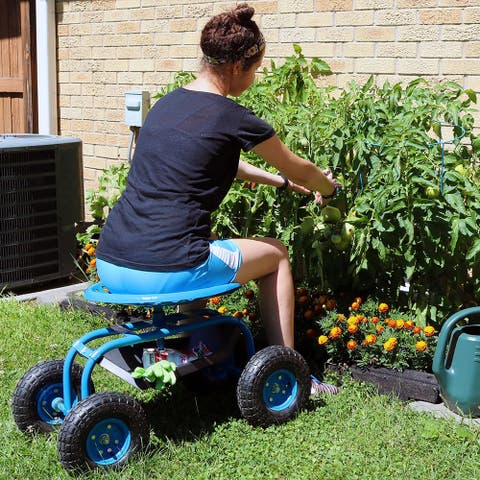 Sunnydaze Rolling Garden Cart with 360-Degree Swivel Seat and Tray - Blue