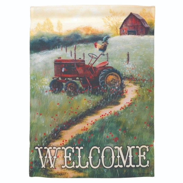 "Green and Red Country Tractor ""Welcome"" Printed Outdoor Garden Flag 18"" x 13"" - N/A"