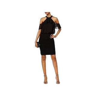 Betsy & Adam Womens Cocktail Dress Above Knee Cold-Shoulder