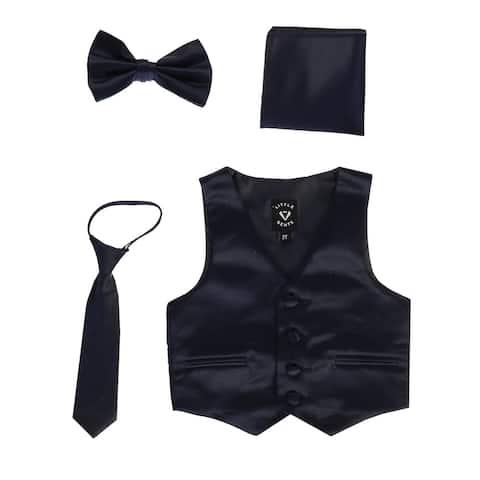 Lito Baby Boys Navy Satin Vest Zipper Tie Hanky Bowtie Clothing Set 12-18M - 12-18 Months