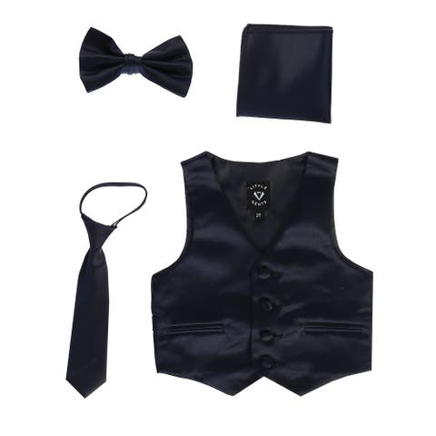 Lito Baby Boys Navy Satin Vest Zipper Tie Hanky Bowtie Clothing Set 18-24M - 18-24 Months