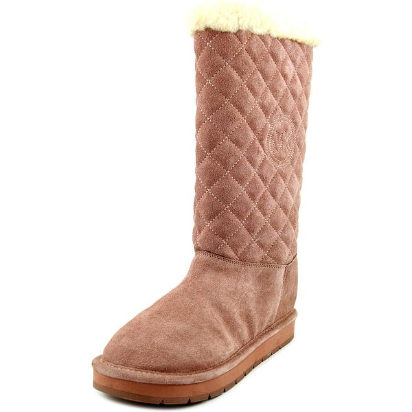 Michael Michael Kors Sandy Quilted Boot Women Round Toe Suede Pink Winter Boot