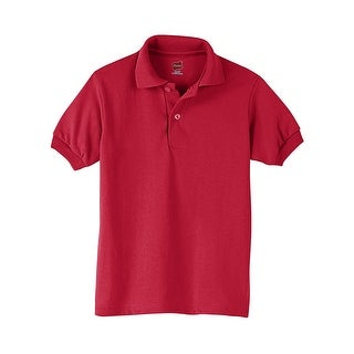 Hanes Kids' Cotton-Blend EcoSmart® Jersey Polo - Size - XL - Color - Deep Red