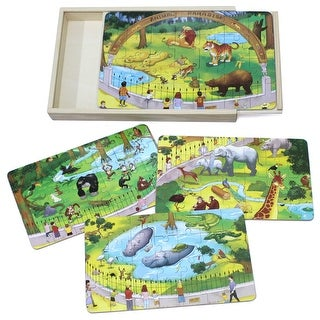 Timy 4 in 1 Wooden Jigsaw Puzzle for Kids Zoo Animals Puzzles in Storage Box